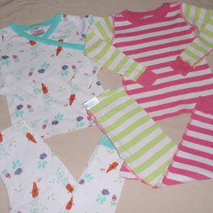2 Hanna Andersson Girls Pajamas 100 4t